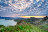 Natural summer background with mountains on sunset, Crimea — Stock Photo