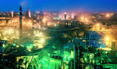 Night view  of industrial metallurgical  plant, Donetsk, Ukraine — Stockfoto