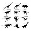 Silhouettes of dinosaurs — Stock Vector