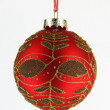 Gold and red xmas ball tree isolated on white background — Stock Photo