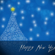 Happy New Year celebration party, poster or banner with white tree — Stock Photo