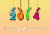 Gott nytt år 2014 gratulationskort — Stockfoto