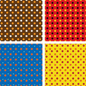Set of four dotted colorful backgrounds — Stock Photo