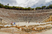 Ruins of theater in ancient Epidaurus, Peloponnes, Greece, — Stock Photo