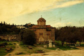 Vintage postcard of Greek orthodox church, Athens, Greece — Stock Photo