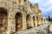 Wall of ancient theater of Herodes Atticus Odeon, Athens, Greece — Stock Photo