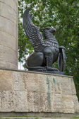 Russia. Griffin right of the pedestal of the monument to Ilya Muromets in Murom — Stock Photo