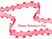 Red ribbon with heart for Valentine's day card — Stock Photo