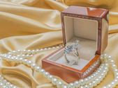 Wooden ring box for weddind — Stock Photo