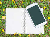 Notebook and mobile phone on green grass ground — Photo