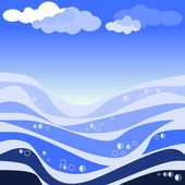 Vector illustration of abstract sea and blue sky — Stock Vector