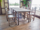 Antique wooden dining table — Stok fotoğraf