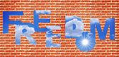 れんが造りの壁と青空 — ストック写真