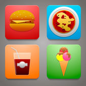 Colorful icons with a delicious meal for your site fast food — Stock Vector
