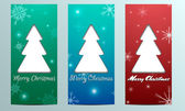Cards with Christmas trees and snowflakes with congratulations — Stock Vector