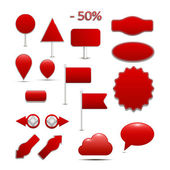 Large, red Arrivals for online shopping, with many icons — Stock Vector