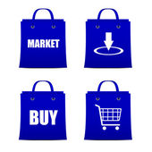 Set of blue bags for shopping intrenet — 图库矢量图片
