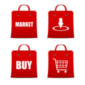 Set of red shopping bags for intrenet — 图库矢量图片