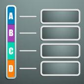 Info graf v dokumentu stylu s stíny a stojany pro text — Stock vektor