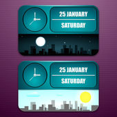 Tool clock with date, day of week, month, and time of day — Stock Vector