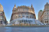 The fountain in De Ferrari square in Genova — Stock Photo