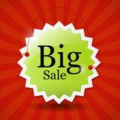 Big Sale Icon, Label, Tag — Stock Vector