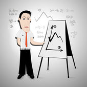 Businessman, teacher and flipchart — Vector de stock
