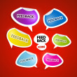 Colorful Feedback Icons on Red Background  — Stock Vector