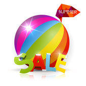 Summer Sale Title, Colorful Beach Ball — Vetorial Stock