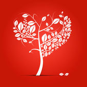 Abstract vector heart shaped tree — Stock Vector