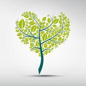 Abstract heart-shaped green tree — Stock Vector
