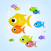 Colorful fish in blue water — Stock Vector