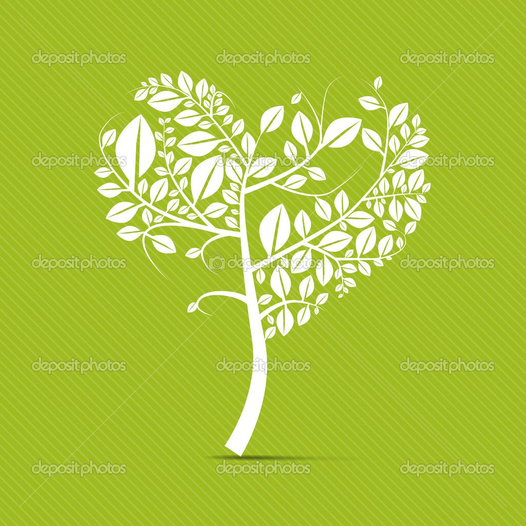 抽象矢量心形绿色背景上的白色的树