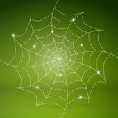 Vector white cobweb on green background — Stock Vector