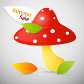 Autumn Sale theme - colorful amanita — Stock Vector