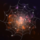 Vector white cobweb on dark background — Stock Vector