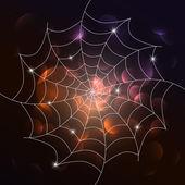 Vector white cobweb on dark background — Stock Vector