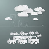Paper Cars and Clouds in the City — Stock Vector