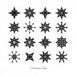 Black Christmas Star Set on White Background  — Imagens vectoriais em stock