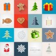 Retro Vector Christmas Icons Set  — Imagen vectorial