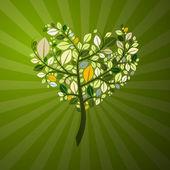 Abstract Heart Shaped Tree — Stock Vector