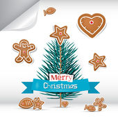 Vector Merry Christmas Background with Gingerbread — Stock Vector