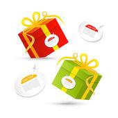 Red, Green Vector Present Box, Gift Box Set — Stock Vector