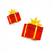 Red Vector Present Box, Gift Box Set — Stock Vector