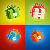 Colorful Vector Present Box, Gift Box Set — Stock Vector