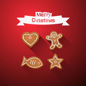 Red Abstract Vector Merry Christmas Backgroundwith Gingerbread — Stock Vector
