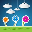 Vector Flowers and Clouds — Stock Vector