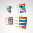 Retro Vector Paper Progress Steps for Tutorial — Stock Vector