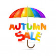 Autumn Sale Title With Umbrella — Stock Vector