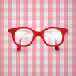 Old Glasses on Pink Tablecloth — Stock Vector